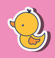 yellow rubber duck toy on pink background vector image