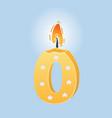 zero birthday candle vector image