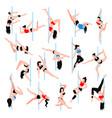 pole dance isometric icons set vector image