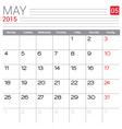 2015 May calendar page vector image