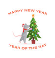 adorable rat decorating fir tree vector image vector image
