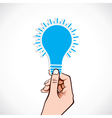 blue bulb sticker in hand vector image vector image