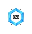 Blue polygonal hexagon icon with mesh and dots vector image vector image