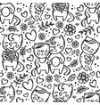 cat couple valentine day seamless pattern vector image vector image
