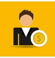 character man currency coins money icon vector image vector image