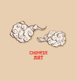 chinese gold clouds and wind blows isolated vector image