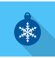 Christmas ball flat icon on blue background vector image