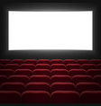 cinema hall with white screen vector image vector image
