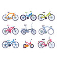 collection various bicycles ecological sport vector image vector image