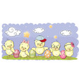 cute cartoon chickens cute cartoon chickens vector image vector image