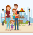 cute family happy in the park characters vector image
