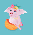 cute pig sit squat on the floor in a polite vector image