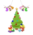 Decorated Christmas tree with gifts and socks vector image