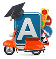 driving school concept with orange scooter vector image vector image