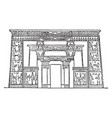 egyptian-front of temple of isis egyptian vector image vector image