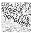 electronic scooter faq Word Cloud Concept vector image vector image