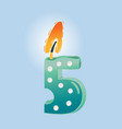 five birthday candle vector image vector image