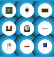 flat icon electronics set of hdd resistance unit vector image vector image