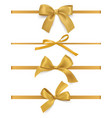 gift bows ribbons realistic decorative golden vector image vector image