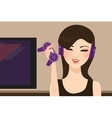 girl gamer holding joy stick wearing head set vector image vector image