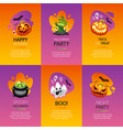 halloween greeting cards colorful set vector image vector image