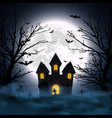 halloween night background haunted house vector image