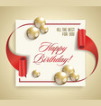 happy birthday banner with red ribbon and golden vector image