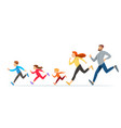 happy family with children running or jogging vector image vector image