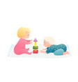 infant boy and girl friends playing toys in vector image