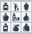 isolated perfume bottles icons set vector image
