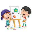 kids painting on canvas vector image vector image
