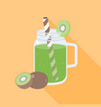 kiwi smoothie in mason jar flat design vector image