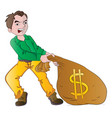 man with a bag of money vector image vector image
