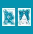 merry christmas paper cuts pine tree and snow vector image vector image