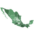 Mexico regions map vector image vector image