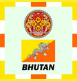 official ensigns flag and coat of arm of bhutan vector image vector image