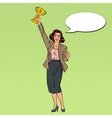 Pop Art Business Woman Winner with Golden Cup vector image vector image