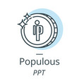 populous cryptocurrency coin line icon of virtual vector image vector image