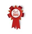 Realistic red fabric award ribbon badge vector image vector image