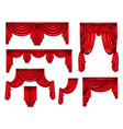 red curtains or drapery realistic set vector image vector image