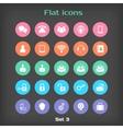 round flat icon set 3 vector image