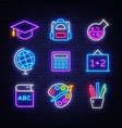 school neon icons set back to school neon signs vector image