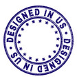 scratched textured designed in us round stamp seal vector image vector image