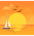 sea sailboat sunset bird orange background vector image