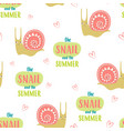 seamless cute snails pattern vector image vector image