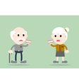 senior man and senior woman are holding denture vector image vector image