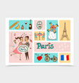 sketch travel to paris composition vector image vector image