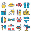 summer beach icons vector image vector image
