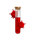 test tubes with blood symbol virus covid-19 vector image vector image