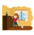 the child removes the house the child helps a vector image vector image